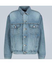 Balenciaga Oversized Denim Jacket With Logo - Blue