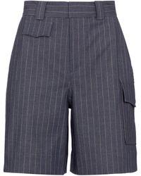 Ganni Shorts de rayas de tiro alto - Azul