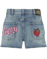 Gucci Appliquéd Denim Shorts - Blue