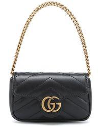 Gucci Borsa GG Marmont Micro in pelle - Nero