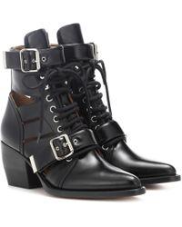 Chloé Ankle Boots Rylee aus Leder - Schwarz