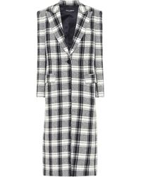 Dolce & Gabbana Checked Wool-blend Coat - Grey