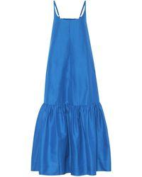 Lee Mathews Exclusivité Mytheresa – Robe midi en coton et soie - Bleu
