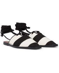 Zimmermann Striped Canvas Slippers - Black