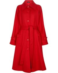 Dolce & Gabbana Manteau en crêpe de laine - Rouge