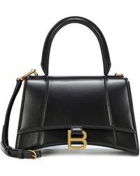 Balenciaga Hourglass Small Leather Tote - Black