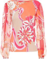 Emilio Pucci Bedruckte Seidenbluse - Pink