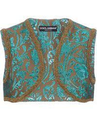 Dolce & Gabbana Floral-brocade Vest - Blue