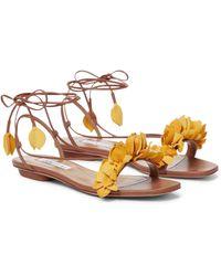 Aquazzura Bougainvillea Leather Sandals - Brown