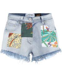 Loewe Paula's Ibiza High-rise Denim Shorts - Blue