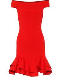 Alexander McQueen Vestido de hombros descubiertos - Rojo