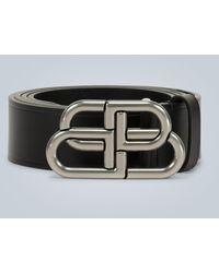 Balenciaga Bb Large Leather Belt - Black