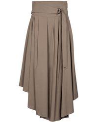 Brunello Cucinelli Falda midi de algodón plisada - Neutro