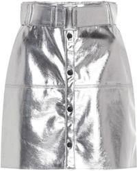 MSGM Short Silver Skirt - Metallic