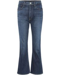 3x1 Flared Jeans W5 Empire Crop Bell - Blau