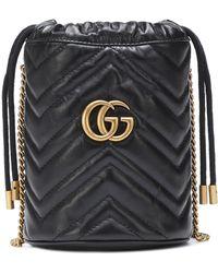 Gucci Secchiello GG Marmont Mini in pelle - Nero
