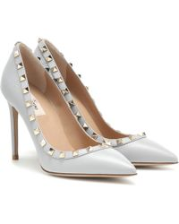 Valentino Rockstud Leather Court Shoes - Gray