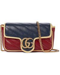 Gucci Schultertasche GG Marmont Super Mini - Rot