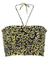 Ganni Top bikini a fascia a stampa floreale - Nero