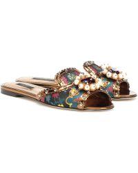 Dolce & Gabbana Slippers con brocado y adornos - Multicolor
