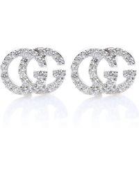 Gucci Aretes de diamantes y oro blanco de 18 ct Running G - Multicolor