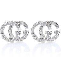 Gucci Ohrringe Running G aus 18kt Weißgold mit Diamanten - Mettallic