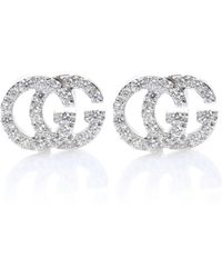 Gucci Running G 18kt White Gold Diamond Earrings - Metallic