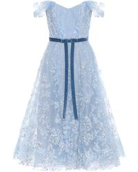 Marchesa notte Off-the-shoulder Tulle Gown - Blue