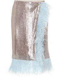 Christopher Kane Feather-trimmed Mesh Midi Skirt - Metallic