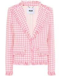 MSGM Veste en tweed de coton mélangé à carreaux - Rose