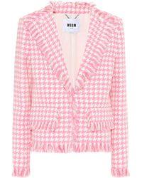 MSGM Houndstooth Tweed Blazer - Pink