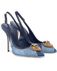 Dolce & Gabbana - Devotion Denim Slingback Pumps - Lyst