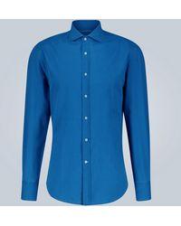 Brunello Cucinelli Slim-Fit-Hemd aus Baumwolle - Blau