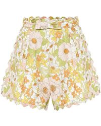 Zimmermann Shorts Super Eight a stampa in lino - Multicolore