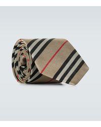 Burberry Monston Striped Silk Tie - Natural