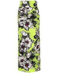Miu Miu Falda de cloqué floral - Amarillo