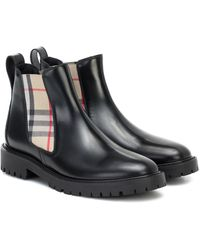 Burberry Vintage Check Leather Ankle Boots - Black