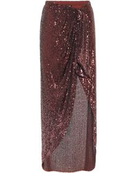 Balmain Sequined Maxi Skirt - Red