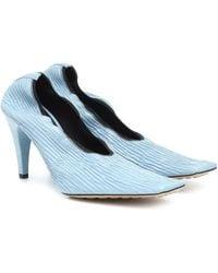 Bottega Veneta Square-toe Textured-leather Courts - Blue