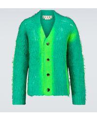 Marni Spray-effect Mohair-blend Cardigan - Green