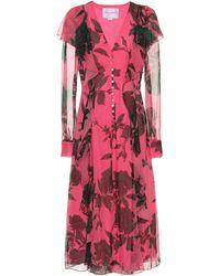 Carolina Herrera Vestido de chifón de seda estampado - Rosa