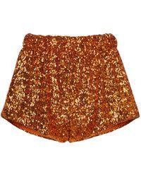Oséree Exclusivo en Mytheresa - shorts con lentejuelas - Naranja
