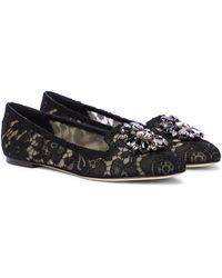 Dolce & Gabbana Verzierte Ballerinas Vally aus Spitze - Schwarz