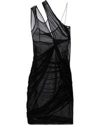 Nensi Dojaka Ruched Mesh Minidress - Black