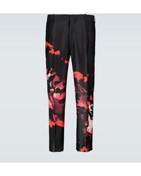 Alexander McQueen Ink Floral Trousers - Black