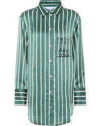 Asceno Gestreifte Pyjama-Bluse aus Seide - Grün
