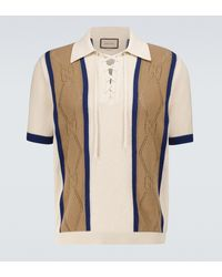 Gucci GG Perforated Cotton Polo Shirt - Natural