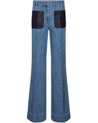 Victoria Beckham Jeans flared de tiro alto - Azul