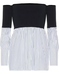 Victoria, Victoria Beckham - Top off-the-shoulder in cotone e jersey - Lyst