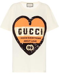 Gucci Sequined Cotton T-shirt - Natural